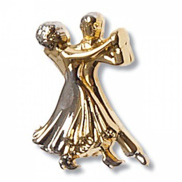 Brosch Dansande Par Metall Diamant